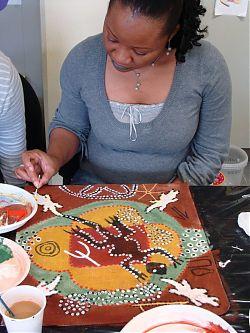 Pigments sur jute sur thème aborigène d'Australie